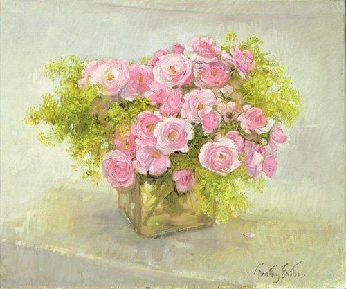 stillleben-gemaelde - Alchemilla and Roses, 1999 - Easton, Timothy