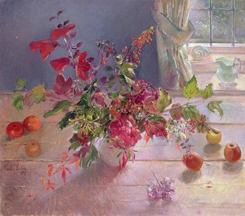 stillleben-gemaelde - Honeysuckle and Berries, 1993 - Easton, Timothy