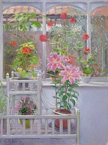 stillleben-gemaelde - Through the Conservatory Window, 1992 - Easton, Timothy