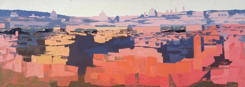moderne-gemaelde - Rom, Blick von der spanischen Akademie auf den Gianicolo, Sonnenuntergang, 1968 - Godlewska de Aranda, Izabella