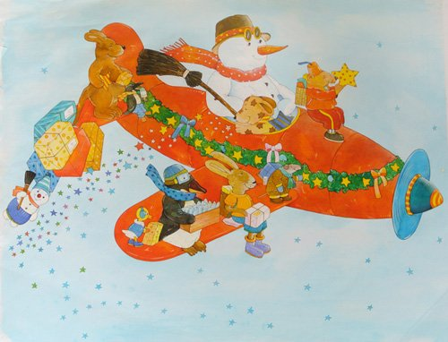 kinderzimmer - Chistmas Airplane with Snowman - Kaempf, Christian