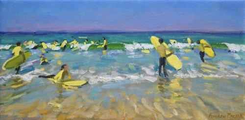 seelandschaft - Surf School at St. Ives (oil on canvas) - Macara, Andrew