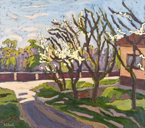 landschaften-gemaelde - In Spring Light, 2008 (oil on board) - Martonfi-Benke, Marta