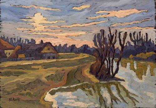 landschaften-gemaelde - Road into Dusk, 2004 - Martonfi-Benke, Marta