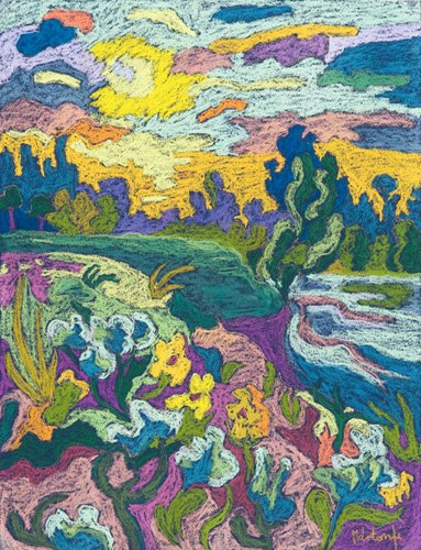 landschaften-gemaelde - Blooming River Bank, 2009 (pastel on paper) - Martonfi-Benke, Marta