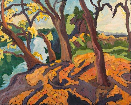 landschaften-gemaelde - Ageing trees, 2009 (oil on board) - Martonfi-Benke, Marta