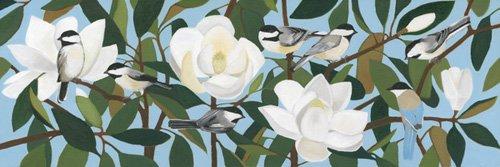 landschaften-gemaelde - Chickadees & Azure-Winged Magpie - Moore, Megan