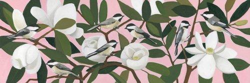 landschaften-gemaelde - Chickadees on a Southern Magnolia - Moore, Megan