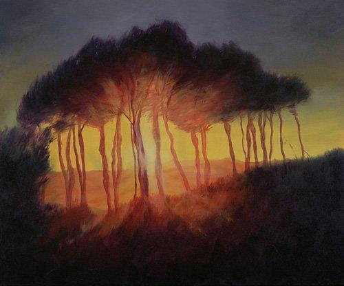 moderne-gemaelde - Wild Trees at Sunset, 2002 (oil on canvas) - Myatt, Antonia
