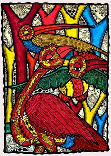 tiermalereien - Bird life, 2013 (ink on canvas) - Oladoja, Muktair