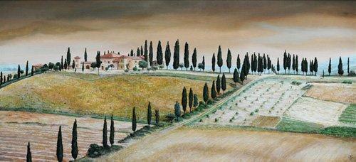 landschaften-gemaelde - Villa on Hill, Tuscany, 2001 - Neal, Trevor