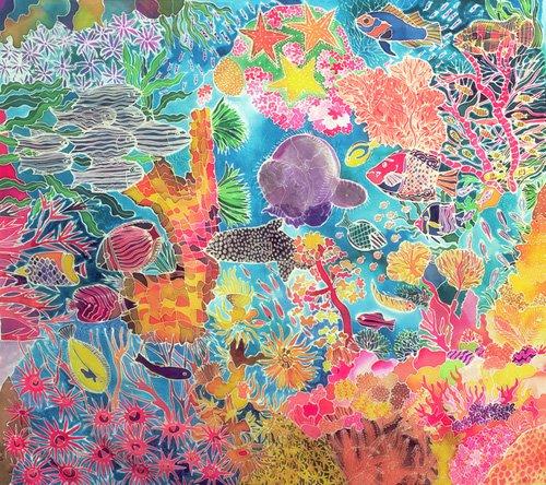 bilder-fuer-ein-wohnzimmer - Tropical Coral, 1993 (coloured ink on silk) - Simon, Hilary