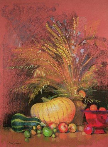 stillleben-gemaelde - Autumn Harvest (pastel on paper) - Spencer, Claire
