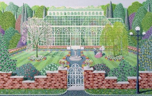 landschaften-gemaelde - The Greenhouse in the Park - Szumowsky, Peter
