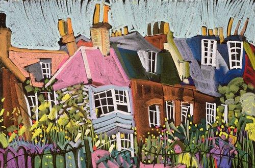 landschaften-gemaelde - Relaxing in the Herb Garden, Greenwich Park, London (pastel on paper) - Treanor, Frances