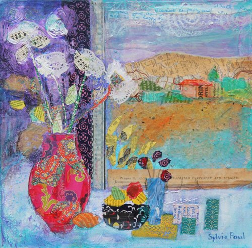 moderne-gemaelde - Flowers in the Window 2014, acrylic.paper collage - Paul, Sylvia