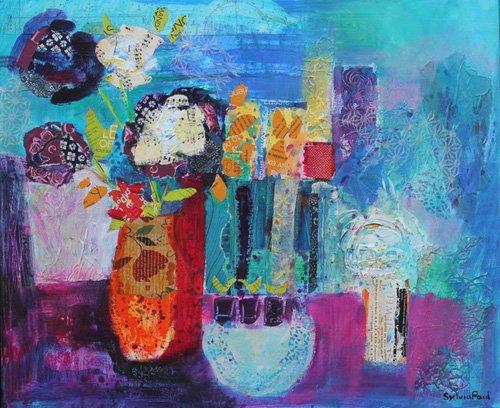 moderne-gemaelde - Blue Beyond 2013 acrylic.paper collage - Paul, Sylvia