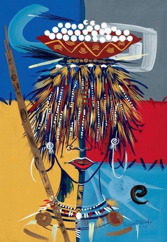 orientalische-gemaelde - African Beauty 2, 2005 (w.c & ink on paper) - Perrin, Oglafa Ebitari