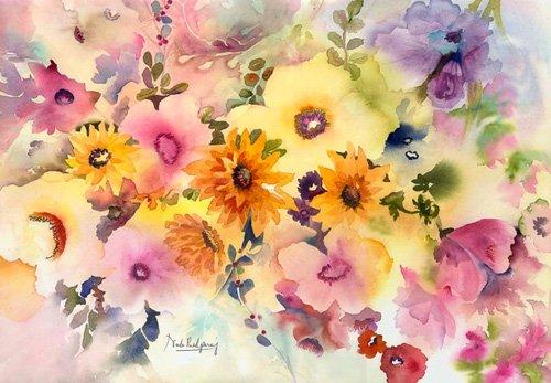 tableaux-pour-hall - golden blossoms - Pushparaj, Neela