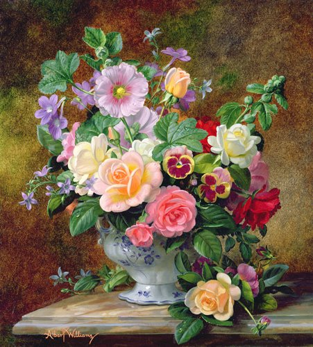 blumen-und-pflanzen - Roses, pansies and other flowers in a vase (oil on canvas) - Williams, Albert