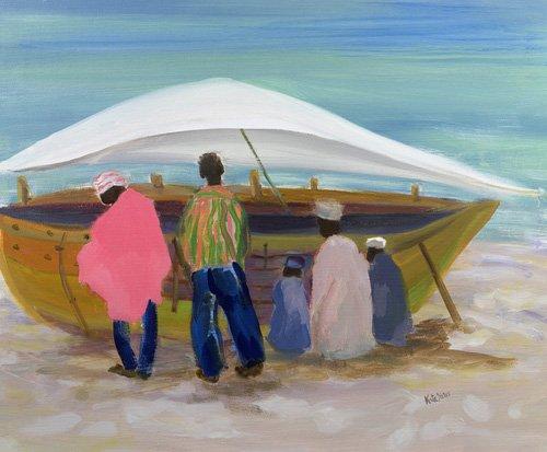 orientalische-gemaelde - Boat Mending (oil on canvas) - Yates, Kate