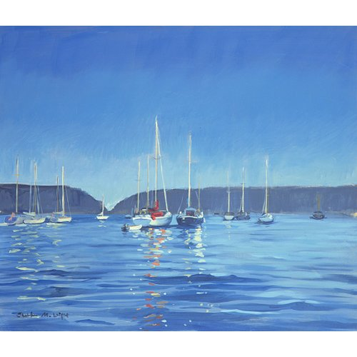 Salcombe - Yachts - Twilight (oil on canvas)