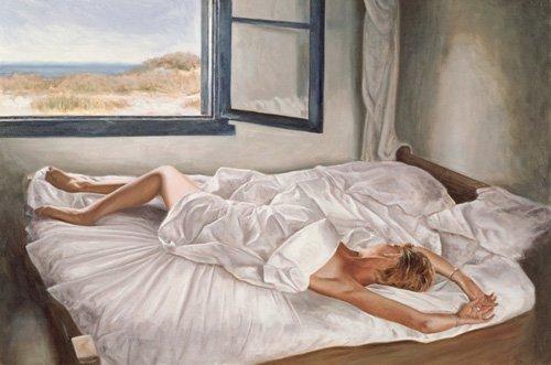 kuenstlerische-aktbilder - The Whispering Sea (oil on canvas board) - Worthington, John