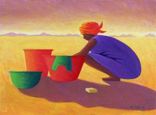orientalische-gemaelde - Washer Woman, 1999 (oil on canvas) - Willis, Tilly