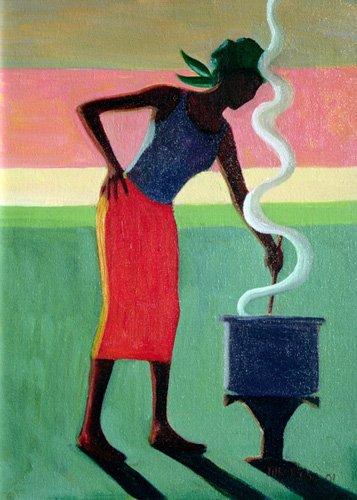 orientalische-gemaelde - Cooking Rice, 2001 (oil on canvas) - Willis, Tilly
