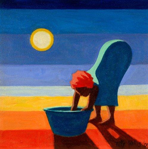 orientalische-gemaelde - Bending Woman, 2005 (oil on canvas) - Willis, Tilly