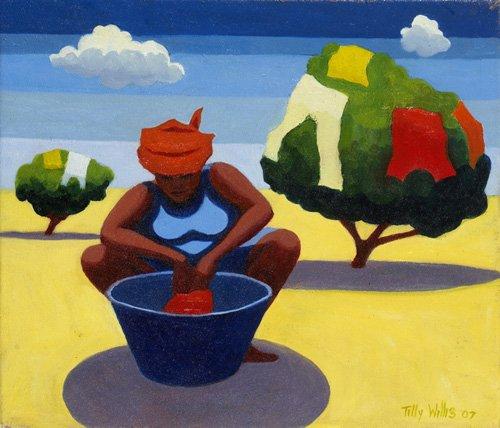 orientalische-gemaelde - A Drying Day, 2007 (oil on canvas) - Willis, Tilly