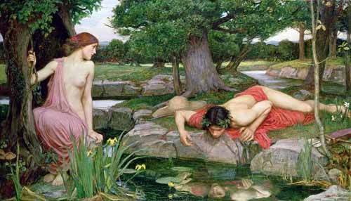 portraetgemaelde - Echo und Narzisse - Waterhouse, John William
