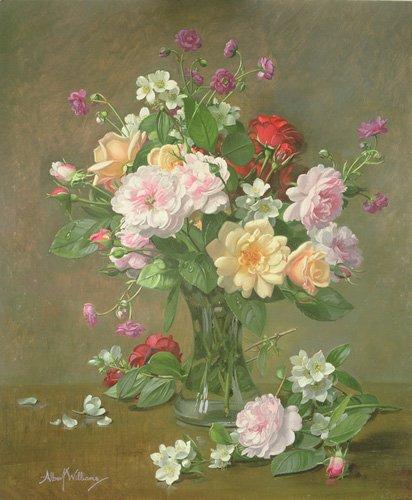 blumen-und-pflanzen - Roses and Gardenias in a glass vase (oil on canvas) - Williams, Albert