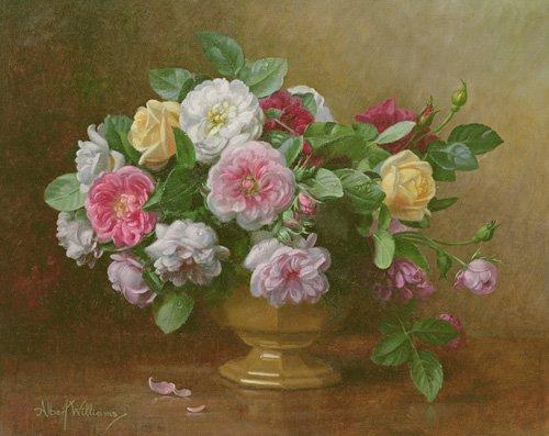 blumen-und-pflanzen - AB.119.2 A bowl of roses - Williams, Albert