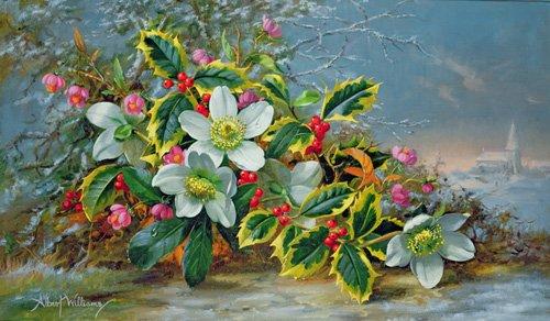 blumen-und-pflanzen - Winter roses in a landscape - Williams, Albert