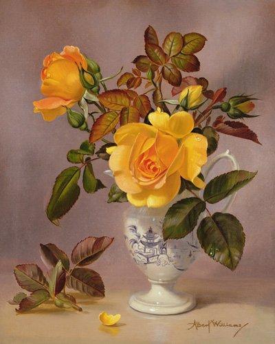 blumen-und-pflanzen - Orange Roses in a blue and white jug (oil on canvas) - Williams, Albert