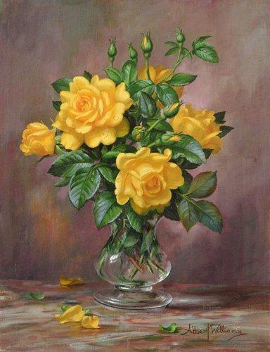 blumen-und-pflanzen - AB.303 Radiant Yellow Roses - Williams, Albert