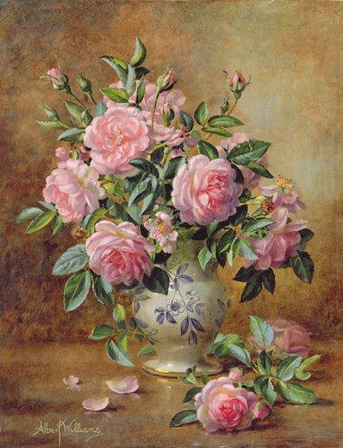 blumen-und-pflanzen - A Medley of Pink Roses (oil on canvas) - Williams, Albert