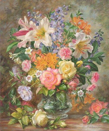 blumen-und-pflanzen - The Glory of Summertime (oil on canvas) - Williams, Albert