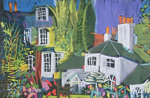 landschaften-gemaelde - Time for Tea, Herb Garden in Greenwich Park (pastel on paper) - Treanor, Frances