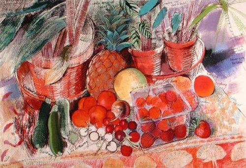 stillleben-gemaelde - Summer Fruits (pastel on paper) - Spencer, Claire