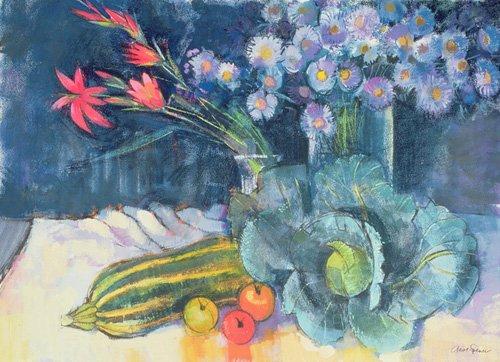 stillleben-gemaelde - Still Life with Fruit and Flowers (mixed media) - Spencer, Claire