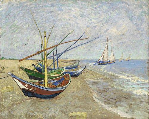seelandschaft - Fischerboote am Strand von Les Saintes-Maries-de-la-Mer - Van Gogh, Vincent