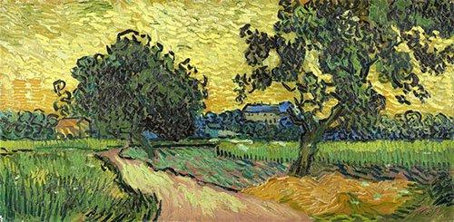 landschaften-gemaelde - Landschaft in der Abenddämmerung, 1890 - Van Gogh, Vincent