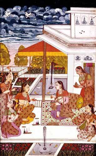 orientalische-gemaelde - Mujeres charlando en la terraza - _Anonym Persien