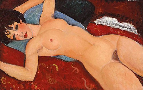 kuenstlerische-aktbilder - Nackt in Rot - Modigliani, Amedeo