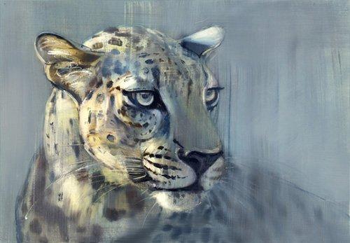 bilder-fuer-ein-wohnzimmer - Predator II (Arabian Leopard), 2009 (oil on paper) - Adlington, Mark