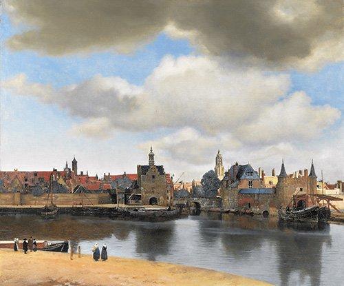 landschaften-gemaelde - Vue de Delft - Vermeer, Johannes