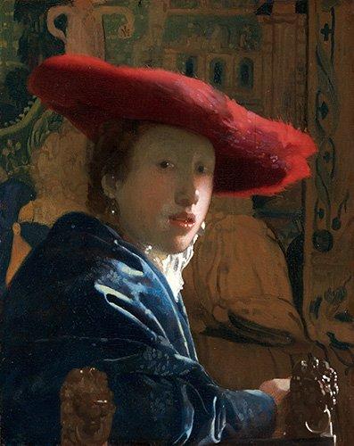 portraetgemaelde - La Fille au chapeau rouge - Vermeer, Johannes