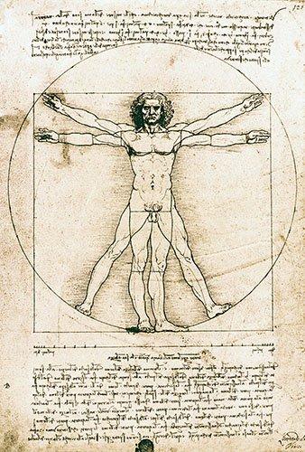 alte-karten-und-zeichnungen - Homme de Vitruve - Vinci, Leonardo da